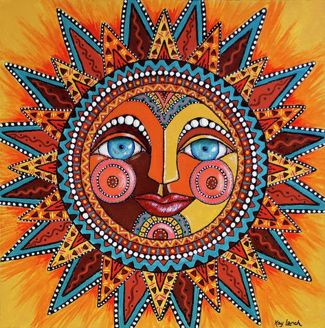Dia De Los Muertos Wall Art - Painting - Smiling Sun by Kay LarchSmiling Sun Art Print by Kay Larch. All prints are professionally printed, packaged, and shipped within 3 - 4 business days. Choose from multiple sizes and hundreds of frame and mat opt Sun Designs, Sun Art, Hippie Art, Hippie Drawing, Mexican Folk Art, Psychedelic Art, Mandala Art, Sun Mandala, Stars And Moon