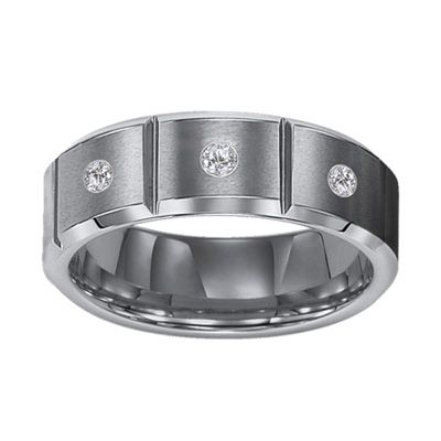 Triton Mens 1 10 CT TW Diamond Three Stone Comfort Fit Tungsten Wedding Band