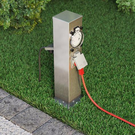 4-fach Außen Steck Dose Garten Edelstahl Strom Verteiler Energie Säule schwarz
