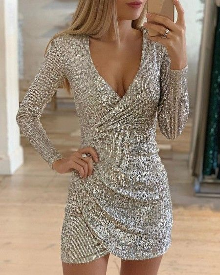 Woman O Neck dress Solid Color sequins Long Sleeve Sweatshirt Party dress S-XL