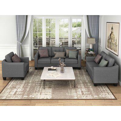 Red Barrel Studio Wysong 3 Piece Standard Living Room Set Wayfair Ca In 2021 Living Room Sets 3 Piece Living Room Set Rectangle Living Room