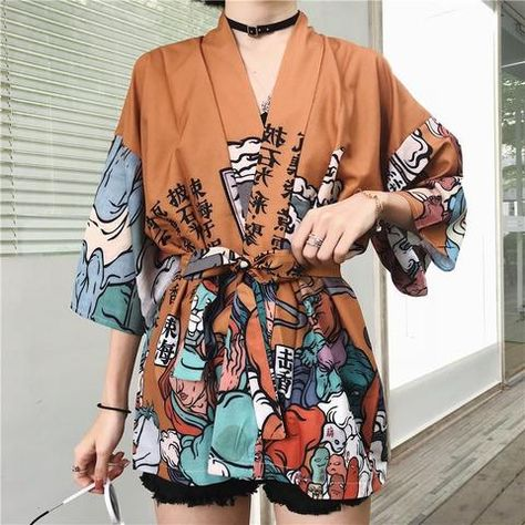 Harajuku BF Wind Japanese-style Feather Weaving Blouse Men and Women Kimono Chiffon Printing Sunscreen Clothing
