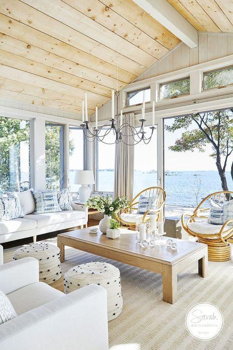 Beach Living Room, Coastal Living Rooms, Home Living Room, Kitchen Living, Coastal Bedrooms, Cottage Living Rooms, Kitchen Modern, Style At Home, Dream Beach Houses