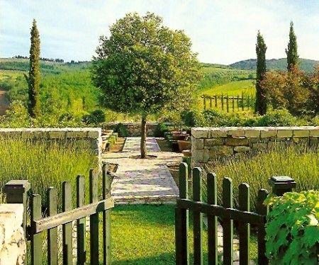 tuscan villa garden yes please paving gateway backyard trees