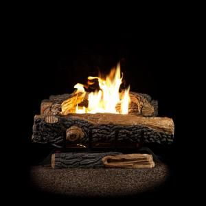 Emberglow Oakwood 24 In Vent Free Natural Gas Fireplace Logs With Thermostatic Control Ovt22ng The Home Depot Gas Fireplace Logs Natural Gas Fireplace Propane Gas Fireplace