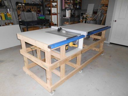 Table Saw Work Station With Homemade T Square Fence Part 1 Table De Sciage Fabriquer Etabli Etable
