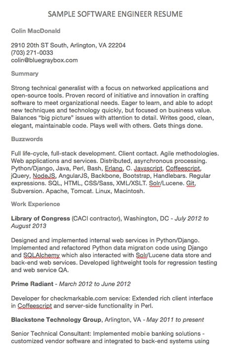 Software Engineer Resume Examples Colin MacDonald 2910 20th ST - full stack developer resume