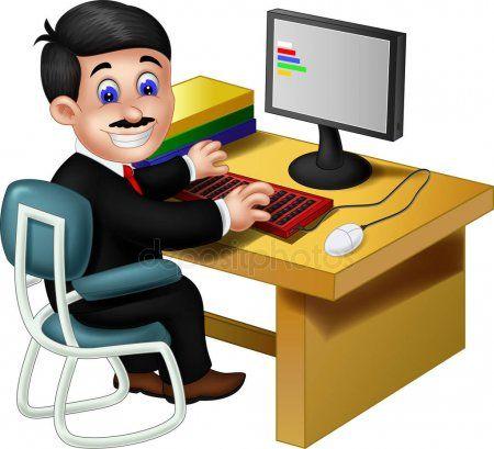 Employee Work Front Computer Cartoon Your Design Stock Vector Sponsored Front Computer Employee Work Ad Cartoons Vector Funny Employee Cartoon