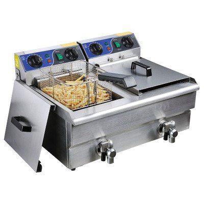 Commercial Electric 20l Deep Fryer W Timer And Drain Stainless