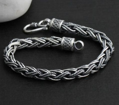 Sterling Silver Men's Cuff Bracelets | Bracelet Handmade Thailand 925 Sterling Silver Tribal Bracelet for Men ...