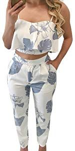 FANCYINN Zweiteiler Damen Sommer 2 Teiler Crop Top und Hose Jumpsuit Elegant Party Outfits