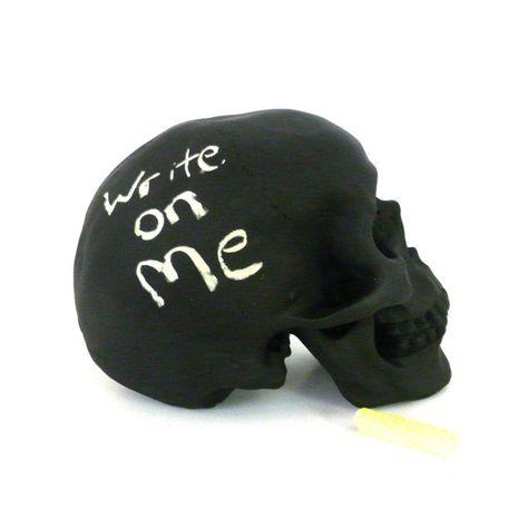 chalkboard skull, cool gift, desk accessories, faux taxidermy, skulls, office decor, home decor