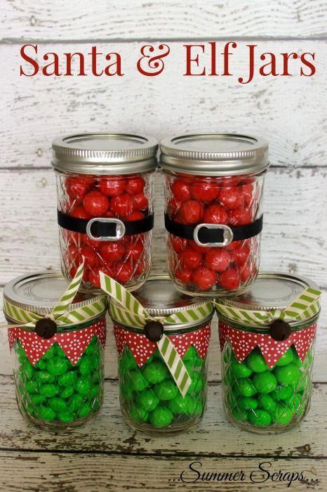 Santa and Elf Jars by @summerscraps | Santa Jar | DIY Mason Jar Gifts