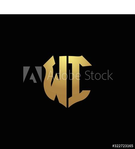 Wi Logo Monogram With Gold Colors And Shield Shape Design Template Buy This Stock Vector And Explore Similar Vecto In 2020 Monogram Logo Design Template Shape Design