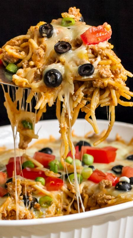 A fantastic Mexican Spaghetti Baked Casserole ~ It's that's simple to throw together, uses pantry staples and is DELICIOUS!