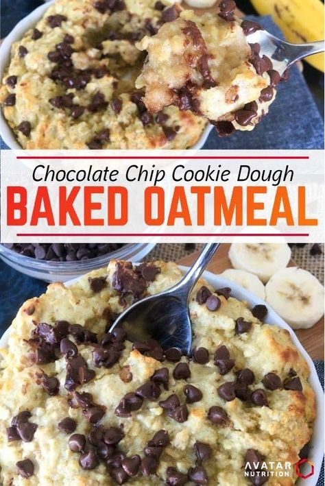 Cookie dough for breakfast? Heck yes! This recipe will get you off to the right start and satisfy your sweet tooth! Protein Cake, Protein Cookies, Protein Snacks, Protein Bread, Protein Muffins, High Protein, Protein Oatmeal, Baked Oatmeal, Healthy Food Habits