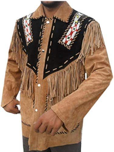 coolhides Mens Cowboy Leather Jacket with Bones and Fringes