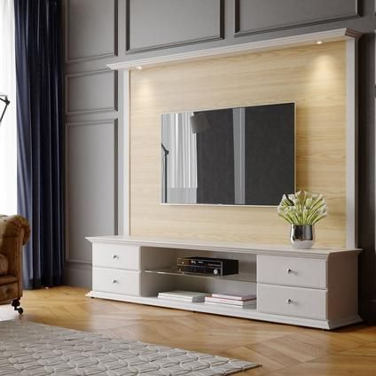 Off White Tv Kast.Magnolia 85 43 Tv Stand And Panel In Nature Wood And Off White