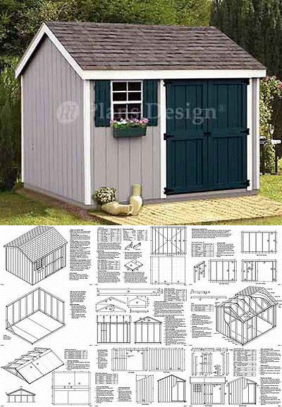 Details About Shed Plans 8 X 10 Storage Utility Garden Building Blueprints Design 10810 10x10 Shed Plans Shed Plans Shed