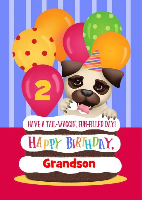 Custom Front Age Name Puppy Grandson 2 Years Old Birthday Card Ad Spon Age Puppy Custom F Old Birthday Cards Dog Birthday Card First Birthday Cards