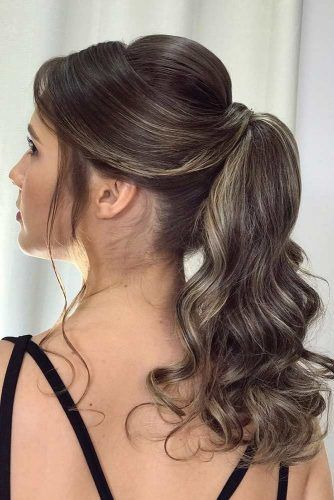 18 Ways To Rock A Ponytail With Bangs Lovehairstyles Com Ponytail Hairstyles Elegant Ponytail Pageant Hair