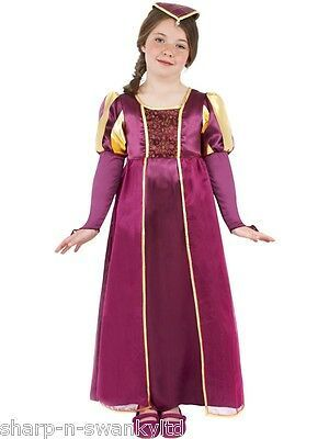 Girls Medieval Tudor Princess Historical Fancy Dress Costume Childs Outfit