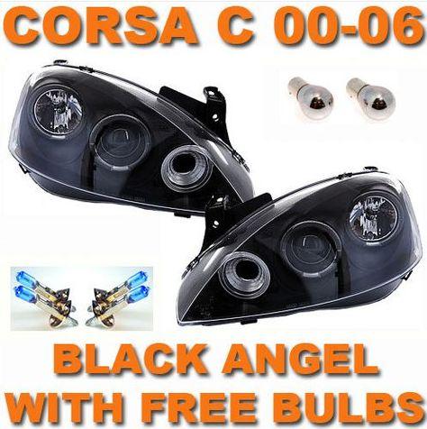 Vauxhall Corsa C 00 06 Black Angel Eye Projector Headlights Black Angels Vauxhall Corsa Vauxhall