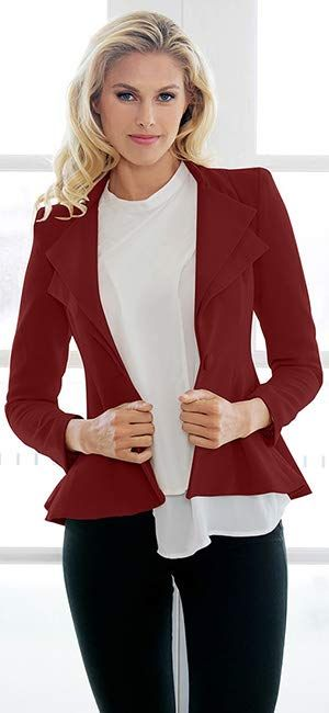 LookbookStore Womens Double Notch Lapel Padded Shoulder Work Office Blazer Suit