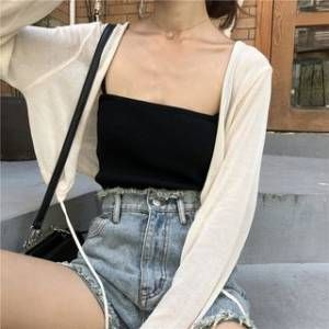 monroll Plain Camisole Top / Cardigan / Shorts