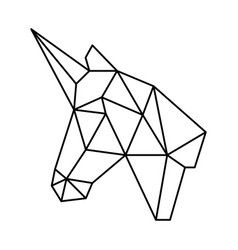 Geometric unicorn head polygonal origami black Vector Image