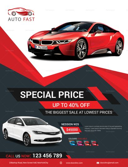 Elegant Car Sales Flyer Template Sale Flyer Car Advertising Design Pamphlet Design