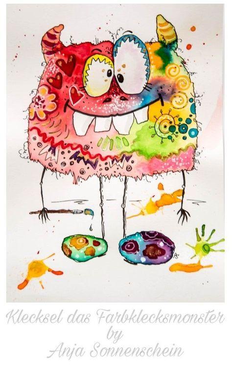 verrücktes monster aquarell  süße kunst niedliche