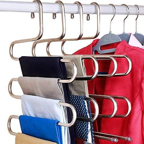 DOIOWN S-Type Stainless Steel Clothes Pants Hangers Closet Storage Organizer for Pants Jeans Scarf Hanging (14.17 x 14.96ins, Set of 3) - 10-Pieces
