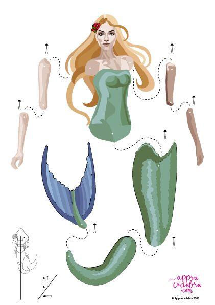 Free printable Mermaid.