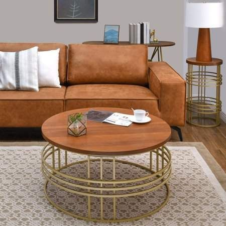 Better Homes Gardens Devon Coffee Table Wood Top With Gold Base