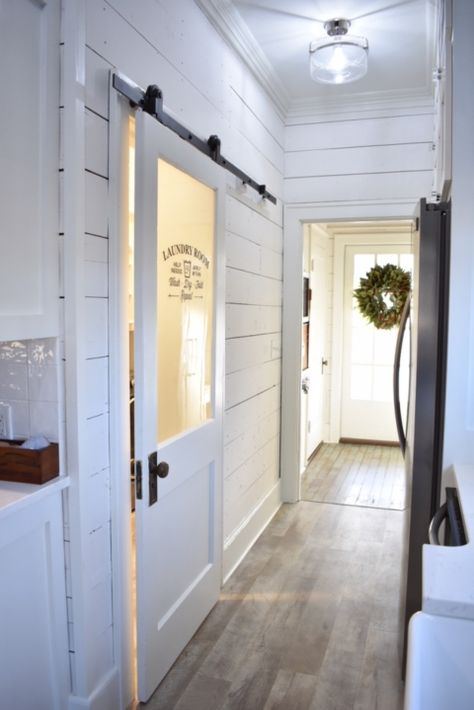 Feature Friday: Simply Southern Cottage – Southern Hospitality - Top Of The World Mudroom Laundry Room, Laundry Room Doors, Farmhouse Laundry Room, Farmhouse Interior Doors, Interior Barn Doors, Farmhouse Decor, Farmhouse Flooring, Cottage Farmhouse, Farmhouse Homes