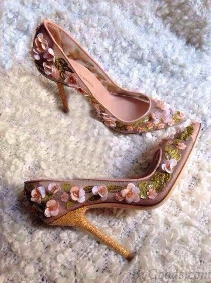 8a90810e1c2 Sweet Beaded 3D Flower High Heel Mesh Pretty Shoes | Shoes | Shoes ...