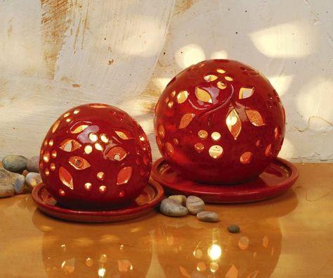 Photo of Lichtkugeln aus Keramik, Deko Stimmungslampen, feuerrot