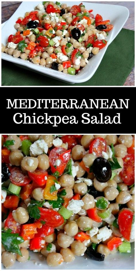 This Mediterranean Chickpea Salad is a super popular, delicious and easy salad recipe from RecipeGirl.com. #mediterranean #chickpea #chickpeas #salad #recipe #greek