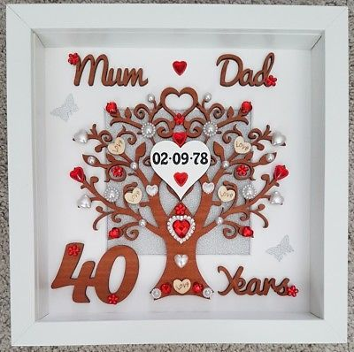 Personalised Handmade 40th Ruby Wedding Anniversary 3d Gift Frame