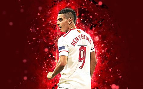 Download wallpapers Wissam Ben Yedder, 4k, abstract art, football, Sevilla, La Liga, Ben Yedder, footballers, neon lights, soccer, Sevilla FC, LaLiga