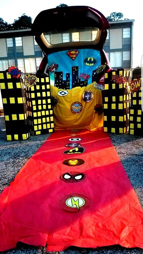 100 Awesome Trunk Or Treat Ideas You Need To See - Home Faith Family - - Over 100 trunk or treat ideas for your car, including Harry Potter, Superheroes and more! You're going to love these easy and inspiring Halloween ideas. Halloween Car Decorations, Family Halloween Costumes, Halloween Themes, Fall Halloween, Halloween Crafts, Halloween 2020, Halloween Party, Super Hero Decorations, Hero Costumes