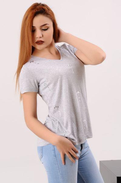 Bayan Tisort Tasli Gri T Shirt Bayangiyim Klasik Muhafazakar Alisveris Tasarim Genc Kapali Gotik Abiye Kadin Modavigo Gunluk Elbi Kadin Gri Stil