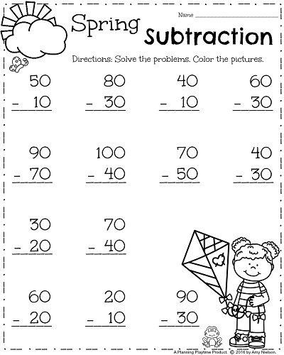 Subtraction Worksheets 1st Grade First Grade Worksheets For Spring Fun Math Worksheets First Grade Math Worksheets First Grade Worksheets