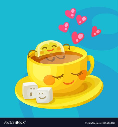 Funny food characters cup tea lemon and sugar Vector Image