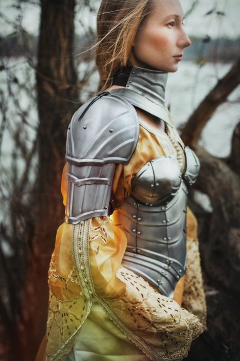 Steel Armor Pauldrons Queen of the Lake Pair by IronWoodsShop