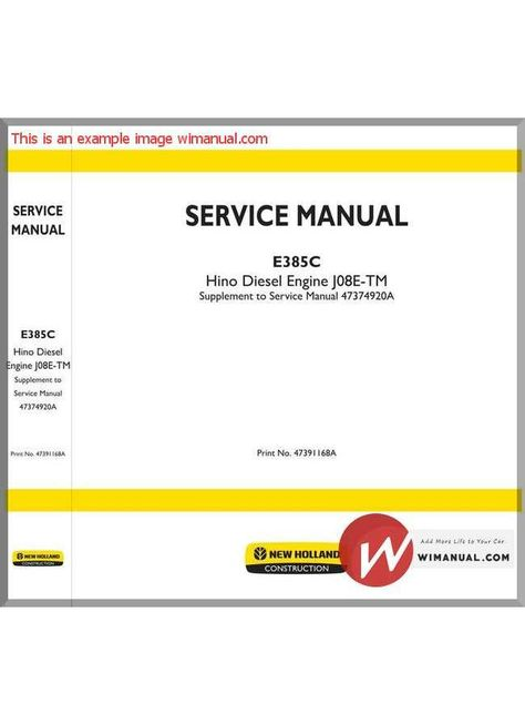 New Holland Engine J08e Tm En Service Manual Manual, New