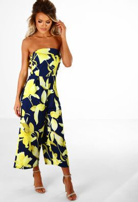 c778289acce0 Chic In Culottes Navy And Yellow Floral Strapless Culotte Jumpsuit ...