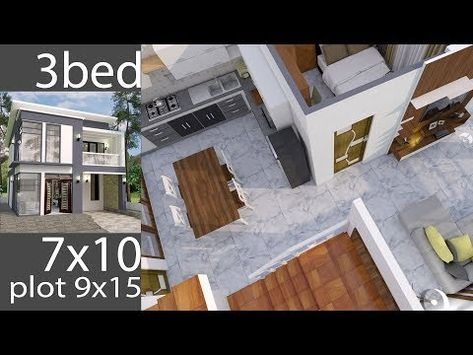 Plan 3d Interior Design Home Plan 7x10m Full Plan 3beds Youtube Small House Design Simple House Design Home Design Plans