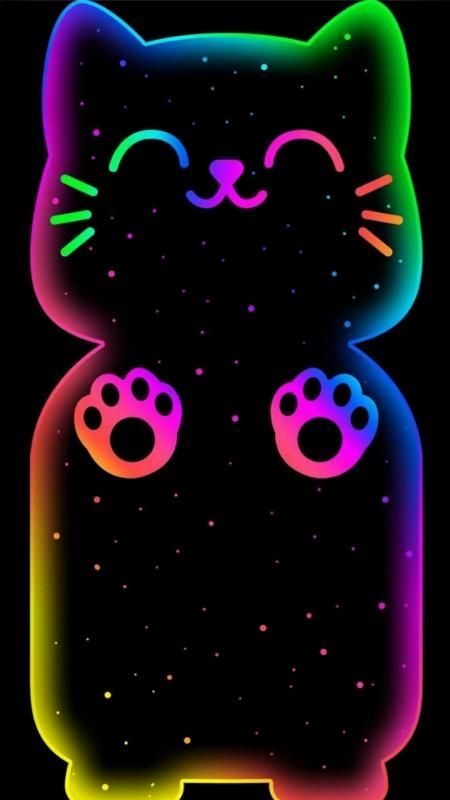 Free Neon Kitty Wallpaper For Your Phone Pets Animals Wallpaper Wallpapers Android Iphone Ne Neon Wallpaper Unicorn Wallpaper Cute Iphone Wallpaper Cat